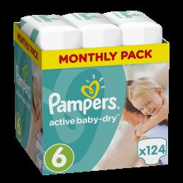 Pampers Πάνες Active Baby-Dry Μέγεθος 6 (Extra Large) 15+Kg, 124 Πάνες