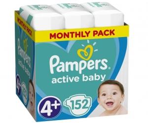 Pampers Active Baby Πάνες Μέγεθος 4+ (10-15 kg), 53 Πάνες