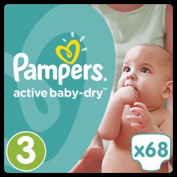 Pampers Active Baby Dry Μέγεθος 3 (5-9kg), 68 Πάνες