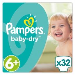 Πάνες Pampers Baby Dry Extra Large Plus Ν. 6+ (16+kg, 32 τεμ)