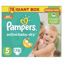 PAMPERS ACTIVE BABY DRY GIANT ΜΕΓ 5 (11-18kg), 78ΤΕΜ.