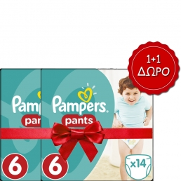 Pampers Pants Μέγεθος 6 (15+kg), 14 Πάνες-βρακάκι cp 1+1 ΔΩΡΟ