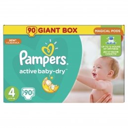 PAMPERS ACTIVE BABY DRY GIANT ΜΕΓ 4 (8-14kg), 90ΤΕΜ.