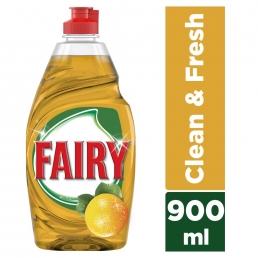 Fairy Clean & Fresh με άρωμα Πορτοκαλιού υγρό πιάτων 900ml