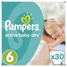Pampers Πάνες Active Baby-Dry Μέγεθος 6 (Extra Large) 15+Kg, 30 Πάνες