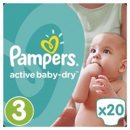 Pampers Active Baby-Dry Μέγεθος 3 (5-9kg), 20 Πάνες