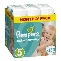 Pampers Active Baby Dry Μέγεθος 5 (11-18kg), 150 Πάνες