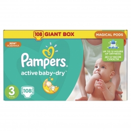 PAMPERS ACTIVE BABY DRY GIANT ΜΕΓ 3 (5-9kg) , 108TEM