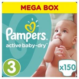 Pampers Πάνες Active Baby-Dry Μέγεθος 3 (Midi) 5-9Kg, 150 Πάνες