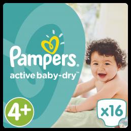 Pampers Active Baby Dry Μέγεθος 4+ (9-16kg), 16 Πάνες