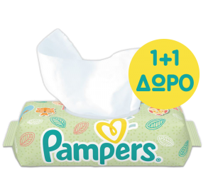 Μωρομάντηλα Pampers Baby Wipes Natural Clean Χωρίς Άρωμα Συσκευασία 64 τεμ. (1+1 ΔΩΡΟ)