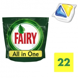 Fairy All in One Λεμόνι Ταμπλέτες Πλυντηρίου Πιάτων 22 ανά συσκευασία pz