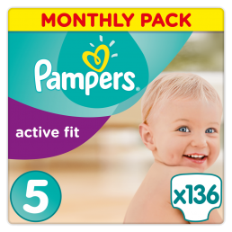 Πάνες Pampers Active Fit Junior Ν. 5 Monthly Pack (11-25kg, 136 τεμ)