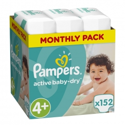 Pampers Πάνες Active Baby-Dry Μέγεθος 4+ (Maxi+) 9-18Kg, 152 Πάνες