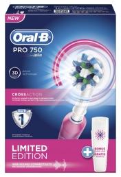 Oral-B Pro 750 - Ηλεκτρική Οδοντόβουρτσα Ροζ με Θήκη Ταξιδίου Box Limited Edition