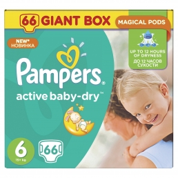 PAMPERS ACTIVE BABY DRY GIANT ΜΕΓ 6 (15+kg), 66ΤΕΜ.