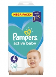 PAMPERS ACTIVE BABY MEGA PACK ΜΕΓ 4 (9-14 kg), 132 ΠΑΝΕΣ