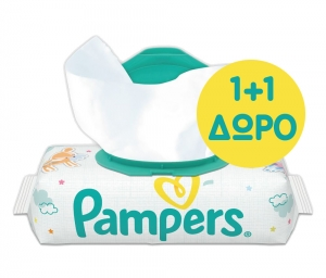 Pampers Baby Wipes Sensitive Μονή Συσκευασία 56 μωρομάντηλων 1+1 ΔΩΡΟ