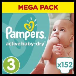 Pampers Active Baby Dry Μέγεθος 3 (5-9kg), 152 Πάνες