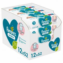 Pampers Sensitive Μωρομάντηλα - 12 x 52 Μωρομάντηλα (624 Τεμάχια)