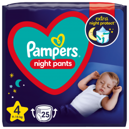 Pampers Night Pants Μέγεθος 4, (9kg-15kg) - 25 Πάνες-Βρακάκι