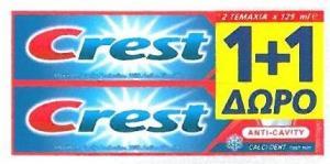Crest Οδοντόκρεμα Προστασία από Τερηδόνα 125ml (1+1 Δώρο)