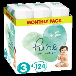 Πάνες Pampers Pure Protection Νο3 (6-10kg) Monthly Pack 124τμχ