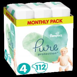 Πάνες Pampers Pure Protection Νο4 (9-14kg) Monthly Pack 112τμχ