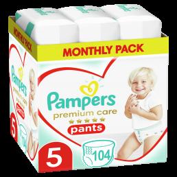 Πάνες Βρακάκι Pampers Premium Care Pants Νο 5 (12-17kg) Monthly Pack 104τμχ