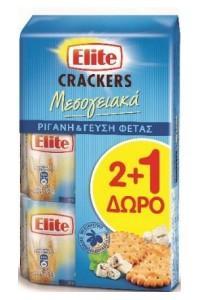 ELITE ΜΕΣΟΓΕΙΑΚΑ  CRACKERS ΦΕΤ&ΡΙΓ 2+1Δ 6X3X105g