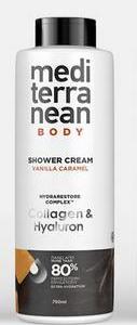 Mediterranean Shower Cream Vanilla Κολλαγόνο & Υαλουρονικό 750ML