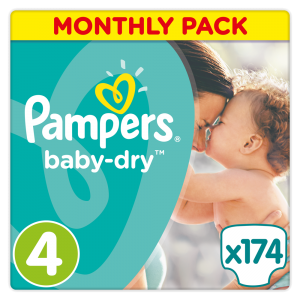 Πάνες Pampers Baby Dry Maxi Ν. 4 Monthly Pack (7-18kg, 174 τεμ)
