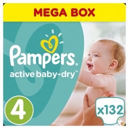 Pampers Active Baby-Dry Μέγεθος 4 (8-14kg), 132 Πάνες