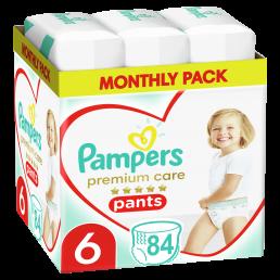 Πάνες Βρακάκι Pampers Premium Care Pants Νο 6 (15+kg) Monthly Pack 84τμχ